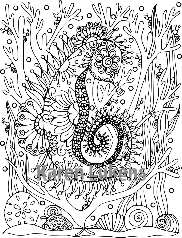happy seahorse 1 coloring book page printable instant download