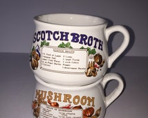 Soup Bowl, Set of 2 Soup Dishes with Handles, Mushroom and Scotch Broth Recipe