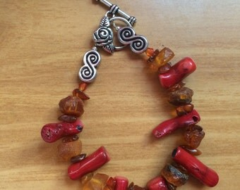 Coral and Amber Rose Bracelet