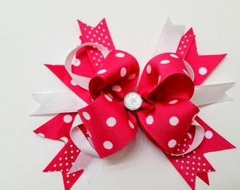Lrg Pink Polka dot Bow