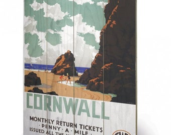 Cornwall Penny a Mile   Wooden Wall Art Print/Wall Hanging  40 x 59cm (16 x 23.6 inches) SW11780P