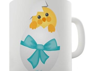 Easter Chick Bow Ceramic Tea Mug