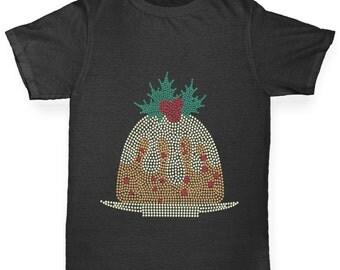 Boy's Christmas Pudding Rhinestone Diamante T-Shirt