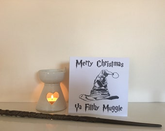 ON SALE * Sorting Hat Christmas • 6x6 • Merry Christmas Card • Red • White • Harry Potter Card • The Sorting Hat • Wizarding World • HP •