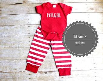 Newborn Red Striped Christmas Pjs