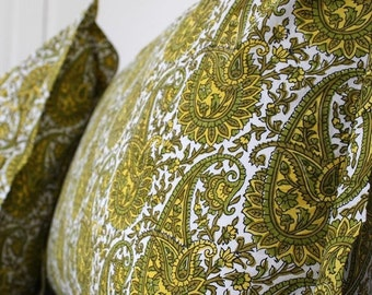 Wood-Block Paisley Pillow cases  Sold in Sets