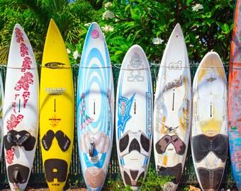 Surfboard fence in P'aia, Maui, Hawaii