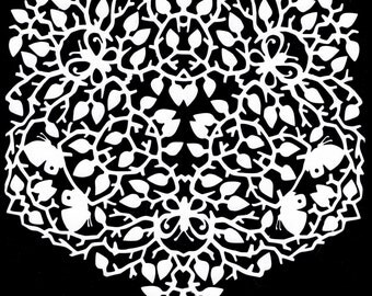 """Cut Paper Art, butterflies, thorns, Spring, Summer, """"New Beginnings"""", Paper Doily, snowflake, DIY frame or hang on a string"""