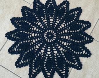 Crocheted doily - navy blue