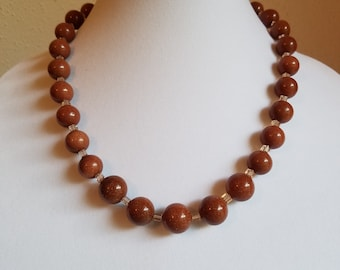 Set: Goldstone Bead Necklace and Earrings