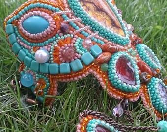Bracelet with a ring, Large cuff, Embroidered bracelet, Spring summer bracelet
