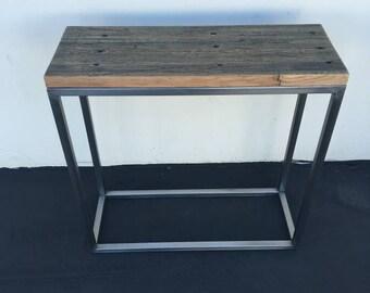 Reclaimed oak side table, accent,key table