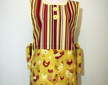 Colorful Stripes with Chicken Motif Pocket Side-Tie Cobbler Apron