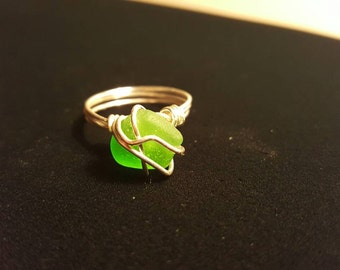 Beach glass ring - Sterling silver size 8