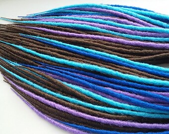 SYNTHETIC DOUBLE ENDED Full set x50 Dreads Custom Synthetic  Extensions Handmade walnut color dreadlocks kanekalon Blue Lilac