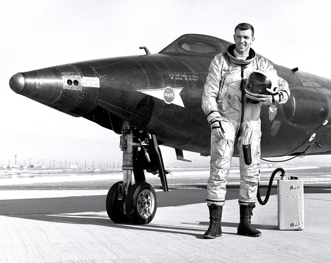 Test Pilot Captain Joe Engle Next to the X-15-2 Experimental Aircraft - 5X7 or 8X10 NASA Photo (AA-308)