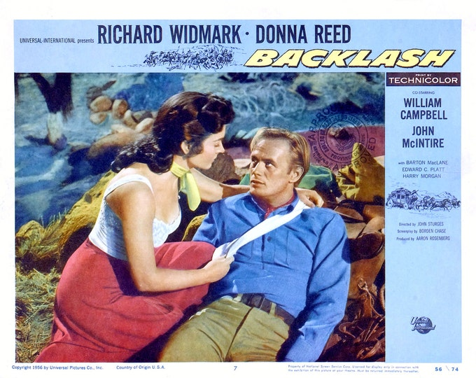 """Lobby Card From the Film """"Backlash"""" Starring Richard Widmark and Donna Reed (Reproduction) - 8X10 or 11X14 Photo (MP-005)"""