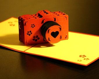 Camera Pop-Up Card, Birthday, Friend, Encouragement, Love, Valentine, 3D, Sculpture