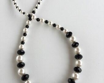Pearl Necklace Crystal Necklace Swarovski Necklace Choker Necklace Black and White Swarovski Pearl and Crystal Necklace