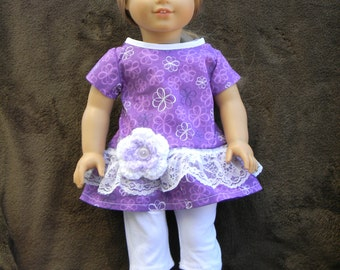 American Girl Doll Ruffled Top & Capri Leggings