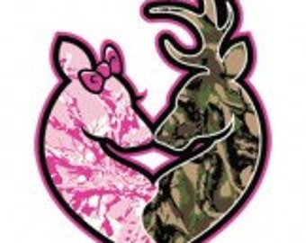 Deer Couple Camo Semi-Fitted Graphic T-Shirt