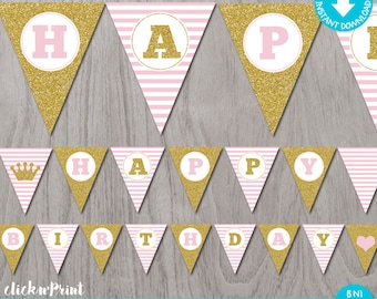 Pink and Gold Printable Birthday Banner, Pink and Gold Printable Glitter Bunting Banner, Printable Pennant Banner