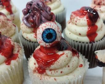 Set of 12 - Gory Fondant Eyeball Halloween Cupcake Toppers