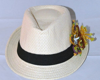 Hat fedora with flowers