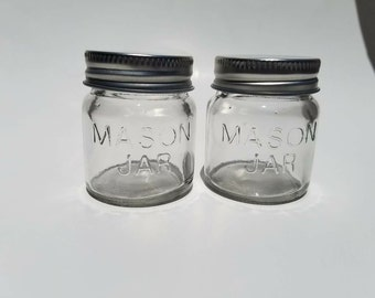 2 Mini mason jars, shot glasses, centerpieces, wedding favors, LID can be CUSTOMIZED