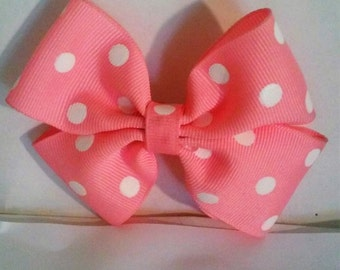 Pretty Pink Poka Dot Hairbow