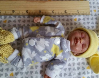 """6-7"""" ooak sculpted posable clay mini baby"""