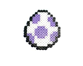 Perler Bead Yoshi Egg, Perler Bead, Yoshi, Egg, Pixel Art, Pixel, 8 bit, Super Mario, Nintendo, Magnet, Keychain, Ornament, Video Game, Game