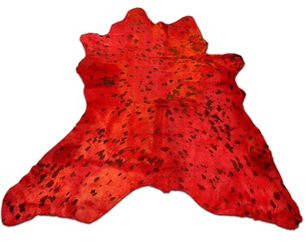 """D-266 Dyed Red Acid Washed Calfskin / mini Cowhide Rug Approx: 39"""" X 34"""" inches"""
