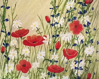 Floral Painting, Floral Acrylic Painting, Red Poppy Painting, Daisies, Blue Sage, Bright and Cheerful Artwork