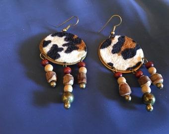 80's leopard earrings
