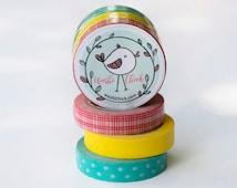 Set of Washi Tape - Aqua Dots, Yellow, and Red Plaid Washi Tape, 3 rolls, 10mm x 10 m each