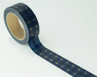 Masculine Washi Tape - Navy and Gold Argyle Pattern Washi tape, Diamond Pattern Washi Tape
