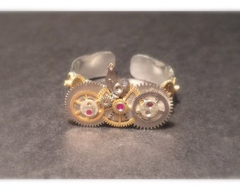 Unique steampunk adjustable ring for ladies
