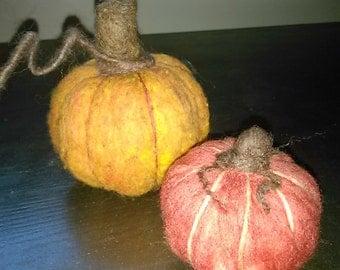 SPRING SALE!!Needle Felted Wool Pumpkins.