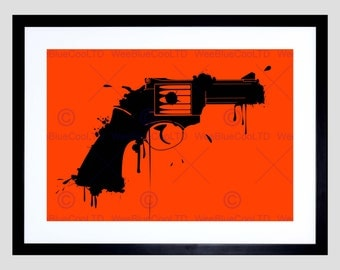 Painting Splat Black Handgun Pistol Fine Art Print Poster FEBMP169B