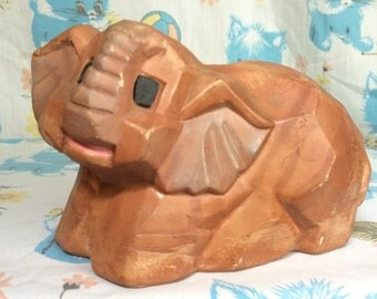 Vintage brown elephant coin bank w/ stopper