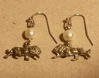 Unique metal lion gem homemade dangle earrings
