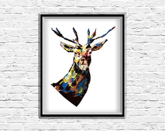 Deer print, Deer head, Deer Antlers, Art Print, Graphic Art, Modern Art, Abstract Art, Wall Art, Painting, Prints, Home Decor, Acrylic Art