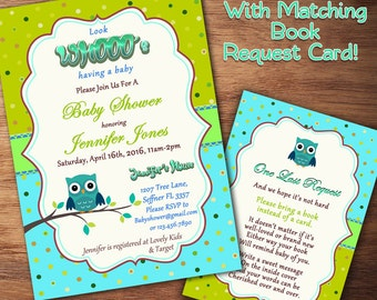 Owl Baby Shower Invitation, Girl Baby Shower Invitation, Boy Baby Shower Invitation, Polka Dot Baby Shower, Book Instead, Printable Invite