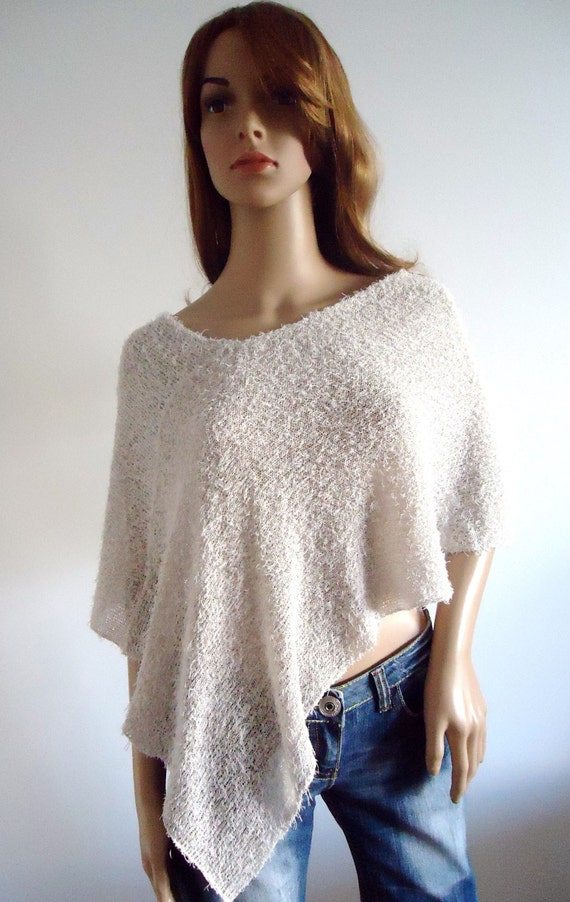 Beige white cotton summer short poncho Handmade Women Poncho Ready to Ship Hand knit women's poncho bridal poncho wedding wrap capelet