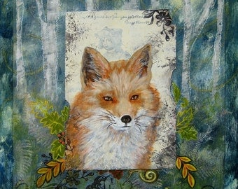 Red fox mixed media collage woodland creatures