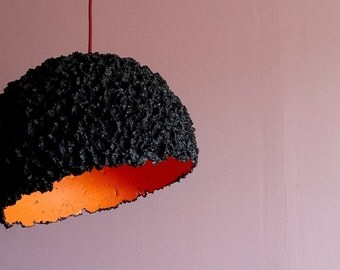 Lamp pendant 'Coal' paper mache recycled eco-friendly