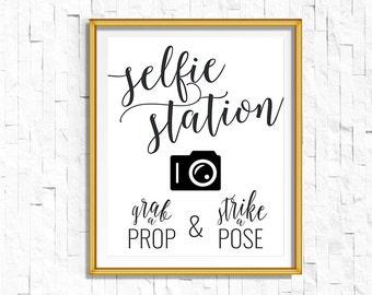 DIY PRINTABLE Black Selfie Station Sign Grab a Prop Strike a Pose   Instant Download Wedding Ceremony Reception Rustic Calligraphy   WB1