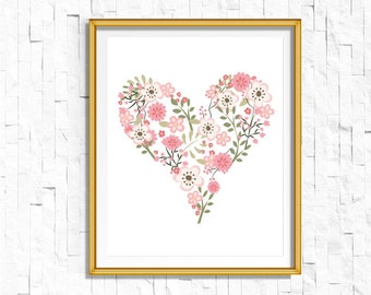 DIY Floral Heart Nursery Print | Garden Print | Boho love print | Bohemian Nursery Decor | Wall Art Printable | Flora