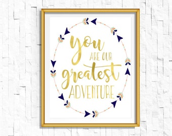 Printable You are Our Greatest Adventure Nursery Print| Tribal Boho Coral Navy | Bohemian Nursery Decor Wall Art Printable | Mint | Bodhi